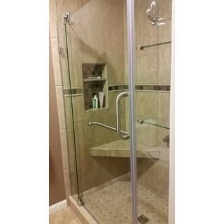 VIGO Pirouette 54-inch Frameless Shower Door .375-in. Clear Glass/Brushed Nickel Hardware