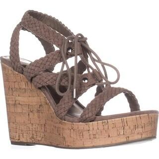 madden girl Emboss Braided Wedge Sandals, Dark Taupe