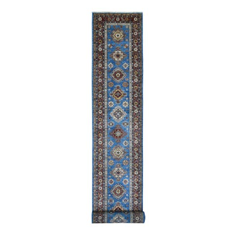 "Shahbanu Rugs Super Kazak Light Blue with Tribal Medallions Design Pure Hand Knotted Oriental XL Runner Rug (3'0"" x 26'8"")"