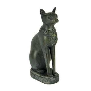 Black Stone Finish Egyptian Cat Goddess Bastet Statue - 7.75 X 4 X 2.25 inches