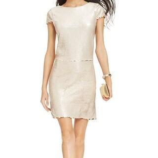 Vince Camuto NEW Beige Cap-Sleeve Reversible Dress Women's 14 Sheath