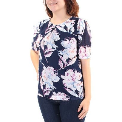 FRENCH CONNECTION Womens Navy Pleated Floral Short Sleeve Jewel Neck Tunic Top Size: 4