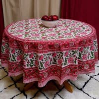 Handmade Lotus Flower Block Print Round Tablecloth Rectangular Cotton Red, 60x60 Square, 60x90 Rectangle, 72 Inch Round