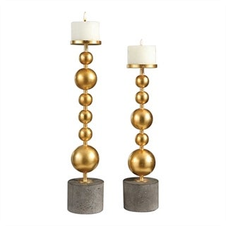 Set of 2 Selim Gold Sphere Candleholders - N/A