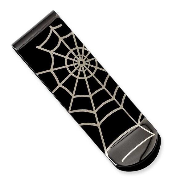 Stainless Steel Black IP Spider Web Money Clip