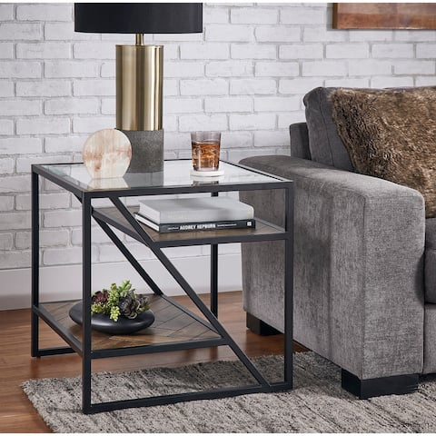 Kita Black Metal Parquet Wood and Glass End Table by iNSPIRE Q Modern - End Table