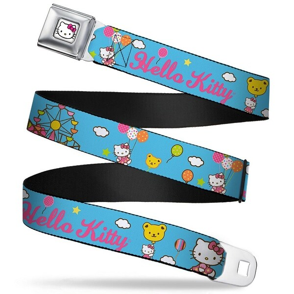 Hello Kitty Face W Pink Bow Full Color White Hello Kitty Carnival Balloons Seatbelt Belt