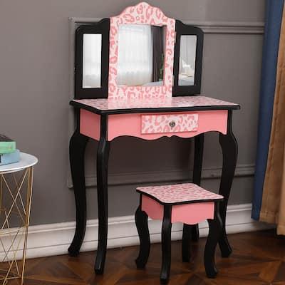 Three-Fold Mirror Single Drawer Arc Feet Children Dresser