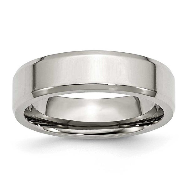 Chisel Beveled Edge Polished Stainless Steel Ring (6.0 mm) - Sizes 6-13