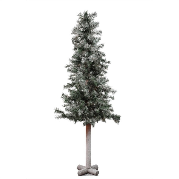 "5' x 28"" Frosted and Glittered Woodland Alpine Artificial Christmas Tree - Unlit - green"