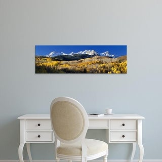 Easy Art Prints Panoramic Images's 'USA, Colorado, Rocky Mountains, aspens, autumn' Premium Canvas Art