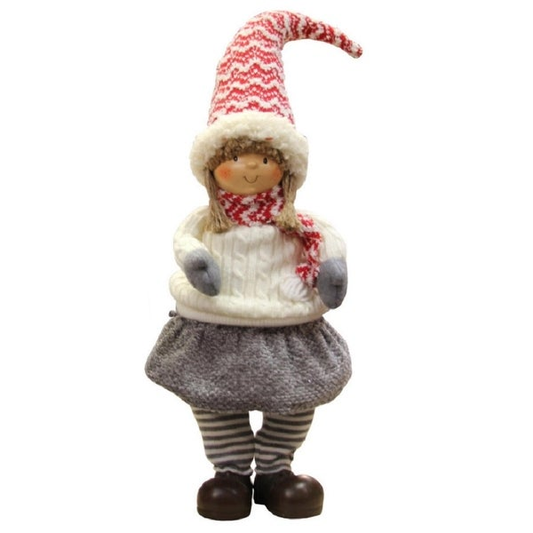 "24"" Red, Gray, and Ivory Young Girl Gnome Christmas Tabletop Decoration"