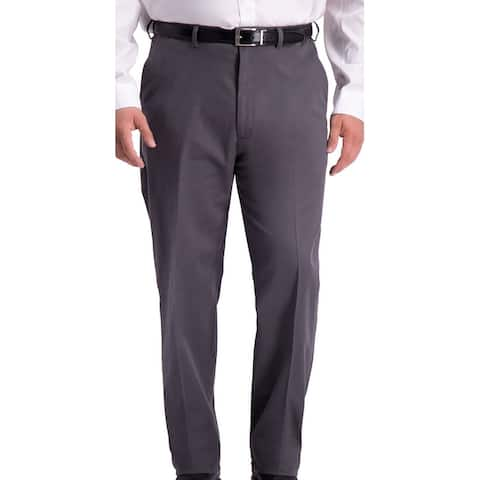 Haggar Mens Pant Charcoal Gray Size 48x34 Big & Tall Relaxed Fit Stretch