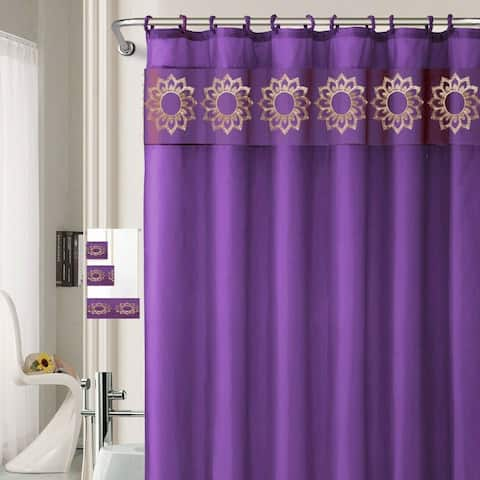 """18-Piece Polyester Shower Curtain with Rugs Towels 71"""" x71"""" Purple"""