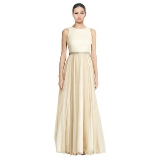 Aidan Mattox Sleeveless Beaded Metallic Tulle Ball Gown Dress - 2