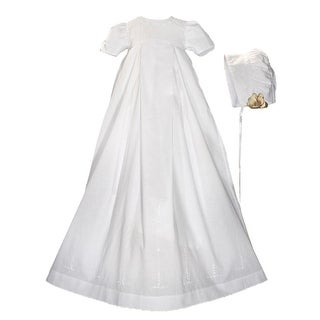 Baby Girls White Satin Rosette Bonnet Christening Dress Gown