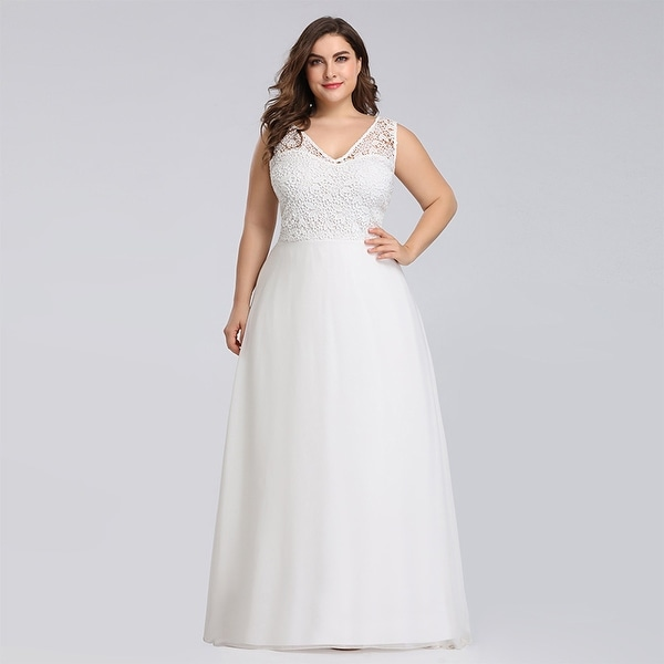 Ever-Pretty Womens Elegant Lace Long Bridal Gown Wedding Dresses for Bride 07686