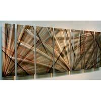 Statements2000 Red / Earthtone Abstract Metal Wall Art Painting by Jon Allen - Meteor Eclipse