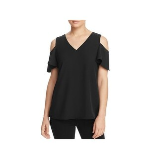 Calvin Klein Womens Casual Top Cold Shoulder Short Sleeves