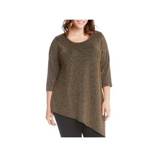 Karen Kane Womens Plus Pullover Top Knit Asymmetrical Hem