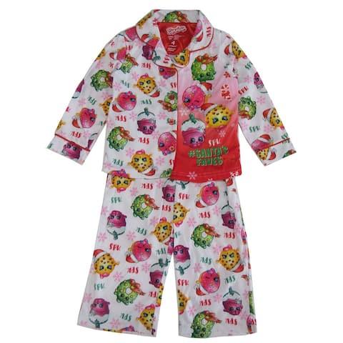 Shopkin Girls White Christmas Elves Long Sleeve 2pc Pajama Set