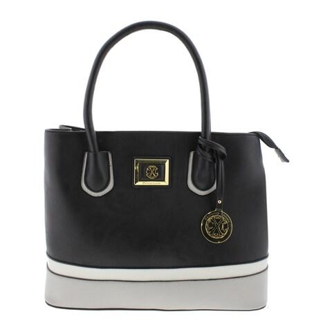 Christian Lacroix Womens Leigh Satchel Handbag Faux Leather Colorblock - LARGE