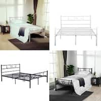Cheerwing Easy Set-up Premium Metal Bed Frame Platform Box Spring Replacement with Headboard and Footboard