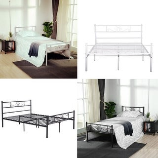 Twin/Full Size Metal Bed Frame Platform Box Spring Replacement with Headboard--black/white
