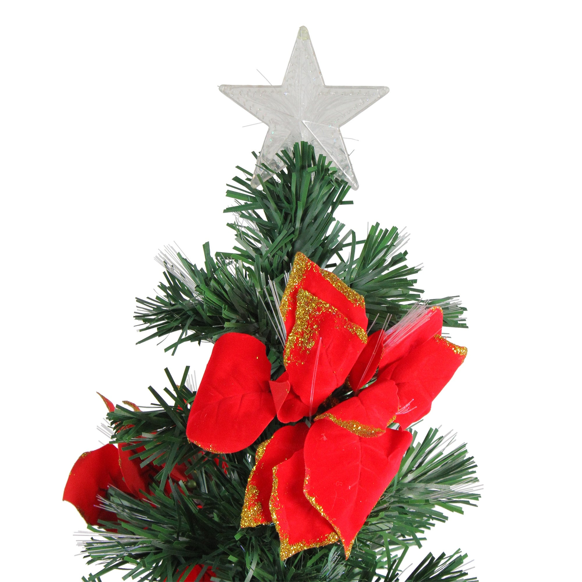 4\' Pre-Lit Fiber Optic Artificial Christmas Tree with Red Poinsettias -  Multi - 3-to-6-feet