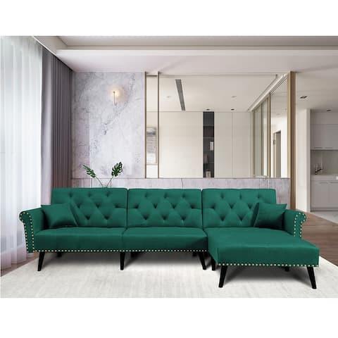 Mid-Century Green Velvet Sectional Sofa Convertible Bed Sleeper