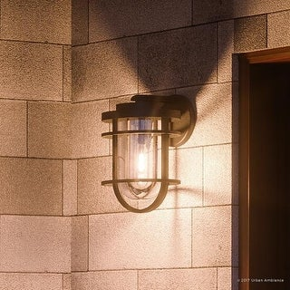 """Luxury Nautical Outdoor Wall Light, 14""""H x 8""""W, with Industrial Style, Cage Design, Black Sand Finish"""