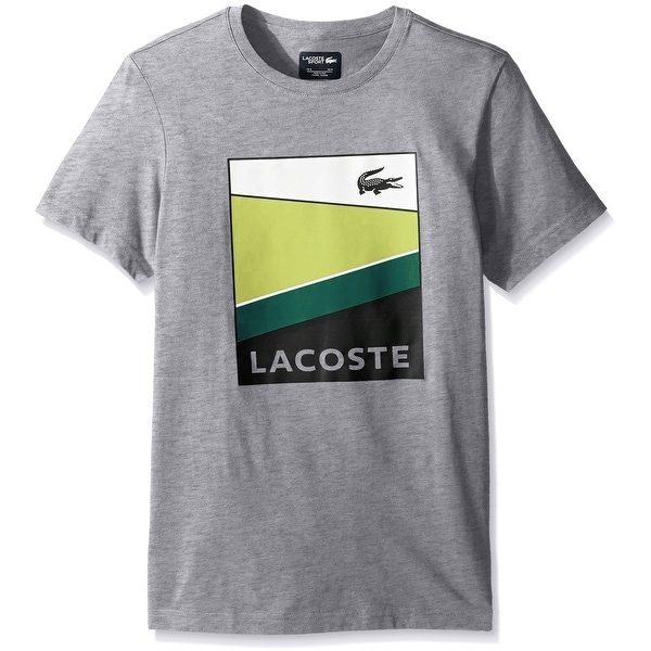 da06f3255 Shop Lacoste NEW Gray Silver Chine White Lemon Mens XL Crewneck Tee ...