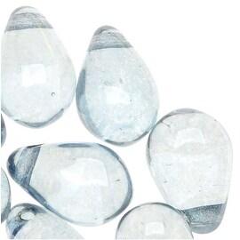 Czech Glass Smooth Teardrop Beads 9x6mm - Luminescent Blue (20)