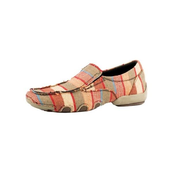 Roper Western Shoe Women Tan And Red Stripes Multi