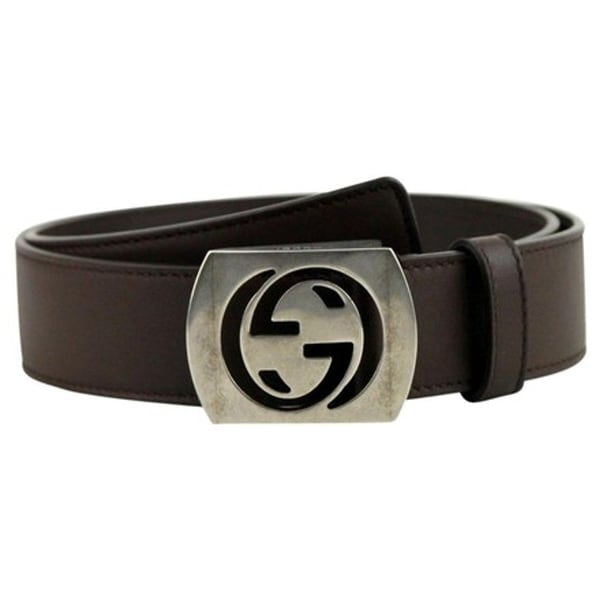 20d5b792a3b Shop Gucci Men s Cocoa Brown Leather Interlocking G Leather Belt 387031 -  Free Shipping Today - Overstock - 25452920