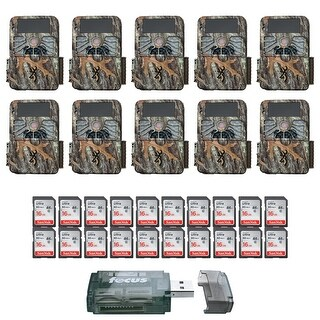 (10) Browning Recon Force 4K Trail Cameras with 20 Memory Cards and USB Reader - Camouflage