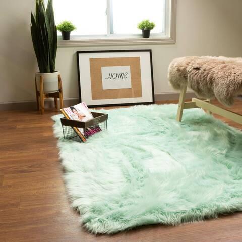 Faux Fur Shag Rug 2' x 3' Mint Green - 2' x 3'