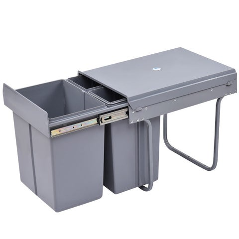Costway Home Kitchen Pull Out Recycling Waste Bin Rubbish Trash 3-Compartment 10.5Gal