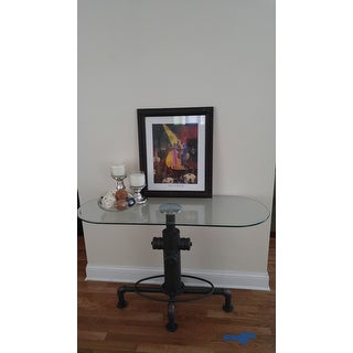 Furniture of America Haymill Industrial Glass Antique Black Sofa Table