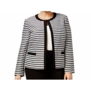 Tahari By ASL NEW Black White Women's Size 22W Plus Striped Jacket