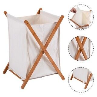 Costway Household Folding Bamboo X-Frame Laundry Hamper Clothes Storage Basket Bin Bag - Natural