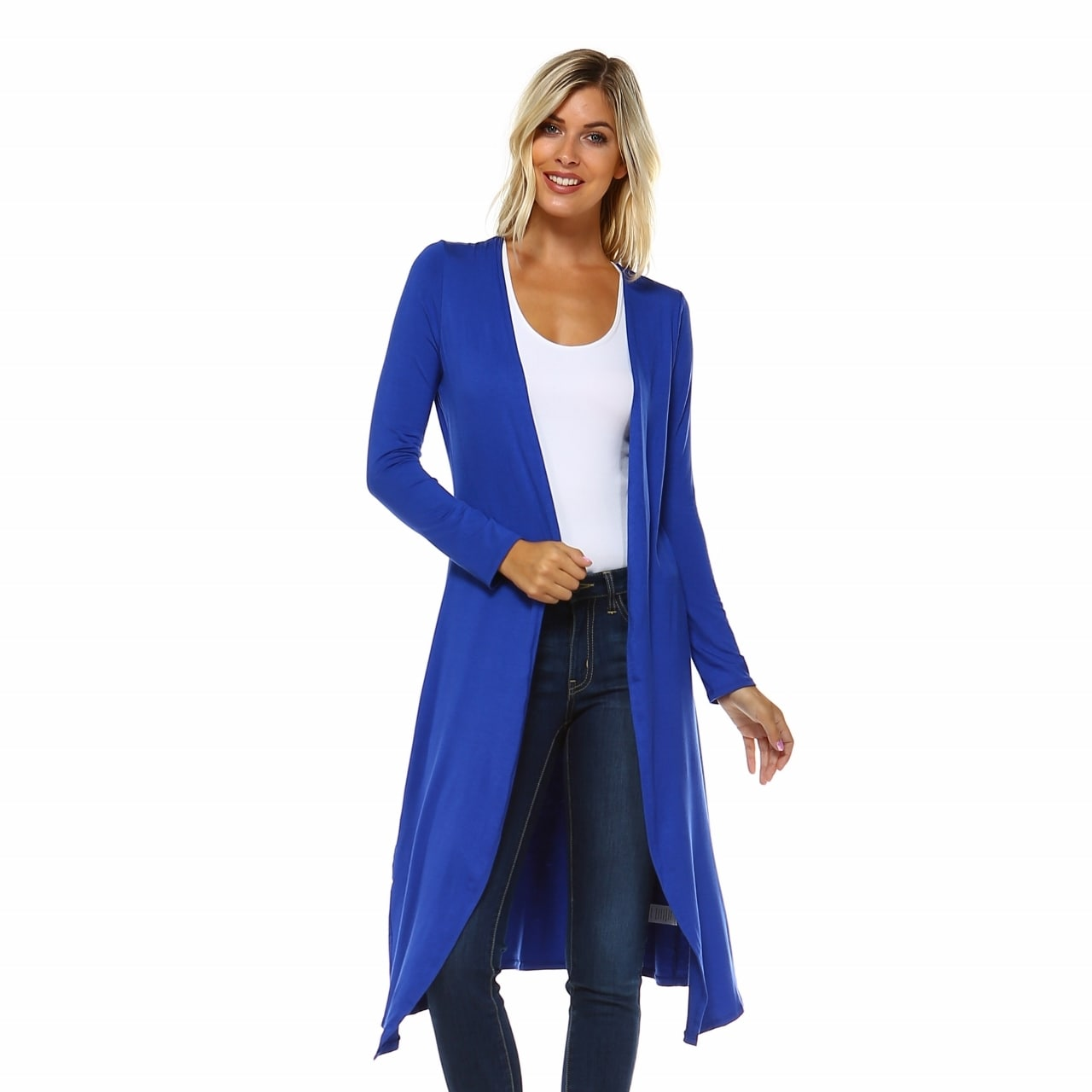 Isaac Liev Extra Long Soft & Lightweight Open Front Flyaway Cardigan Duster - Thumbnail 8