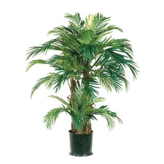 Pack of 2 Potted Artificial Tropical Green Phoenix Palm Trees 4'