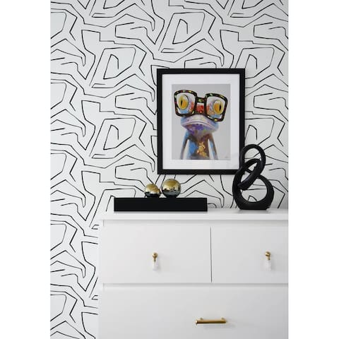NextWall Linework Maze Abstract Peel and Stick Removable Wallpaper - 20.5 in. W x 18 ft. L