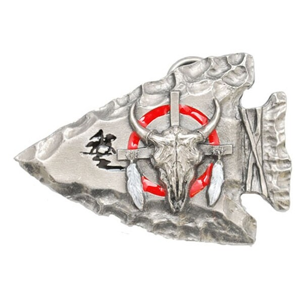 Silver Arrowhead Belt Buckle with Buffalo Skull - One size