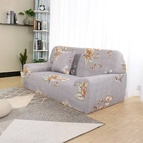 Spandex Fabric Flower Print 1-Piece Sofa Slipcover