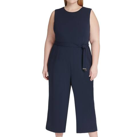 Tommy Hilfiger Women's Jumpsuit Navy Blue Size 18W Plus Cropped Belted