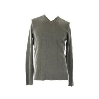 John Ashford Charcoal Textured Long-Sleeve V-Neck Sweater  S
