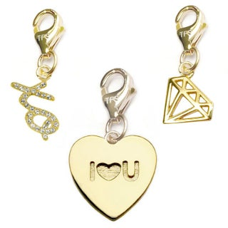 Julieta Jewelry I Heart U Heart, XO, Diamond 14k Gold Over Sterling Silver Clip-On Charm Set