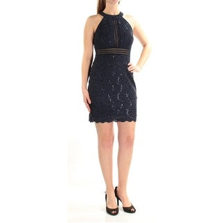 Nightway Petite Sequined Lace Illusion Cocktail Dress Navy